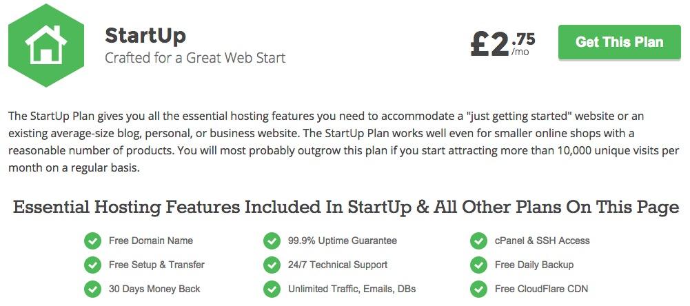 SiteGround Startup price