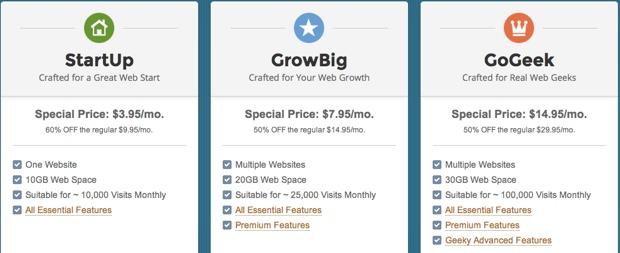 SiteGround pricing options